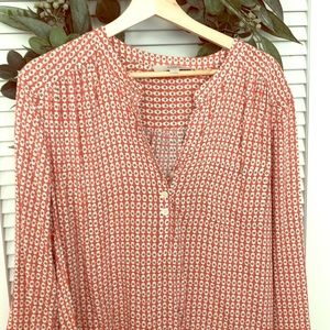 LOFT coral and sage patterned blouse -XL